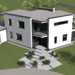Minimalista családi ház látványterv